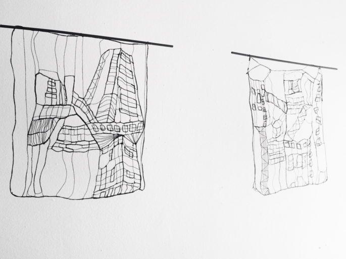 Urban Landscape - L 20 : I, II 23 x 20 cm | Textile, wood | 145 €